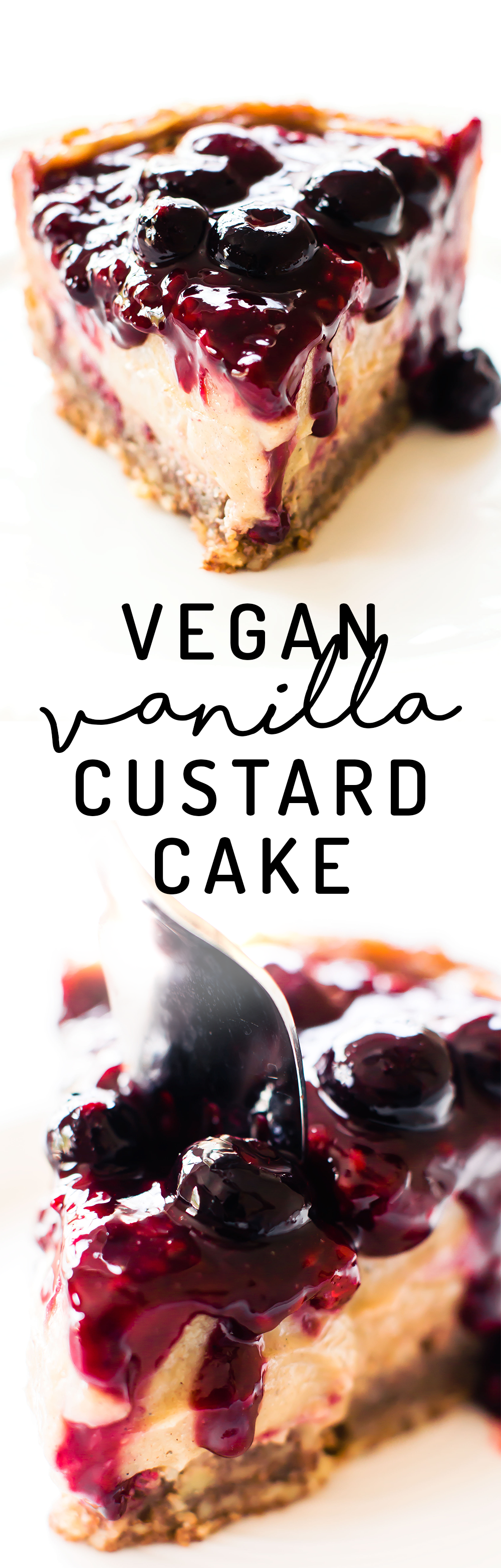 Dreamy meets healthy in this Vegan Vanilla Custard Cake with 2-ingredient pecan crust, low-fat vanilla bean filling, and easy berry compote to top! via @Natalie   Feasting on Fruit
