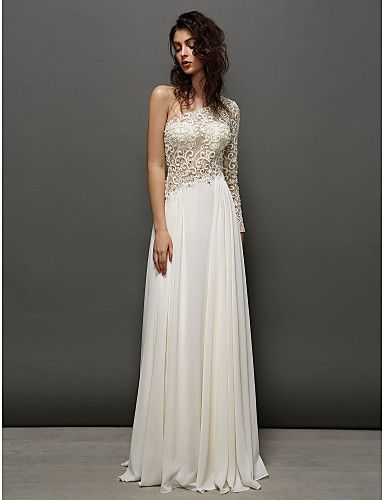 A-line One Shoulder Floor-length Georgette And Lace Evening Dress (2377131) – USD $ 129.99