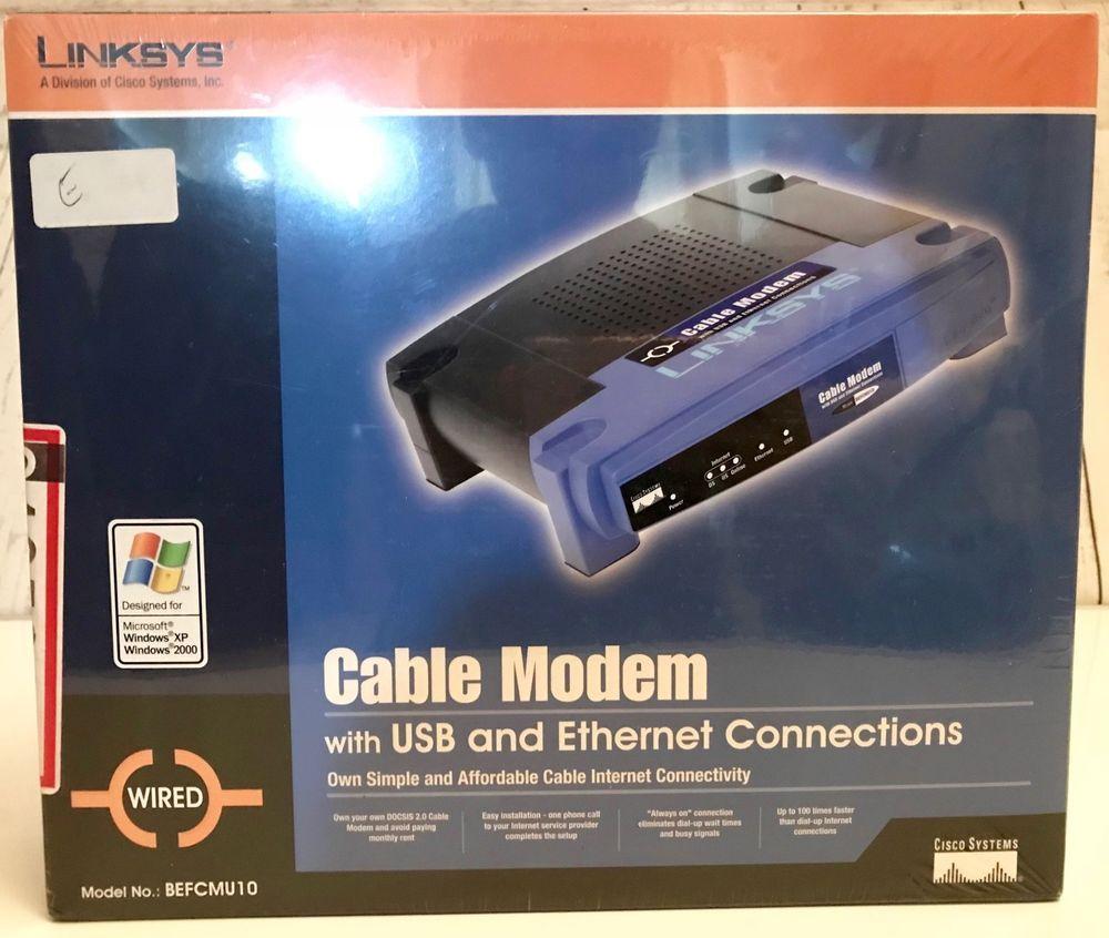 NEW Linksys cable modem Model # BEFCMU10 w/USB & Ethernet ...