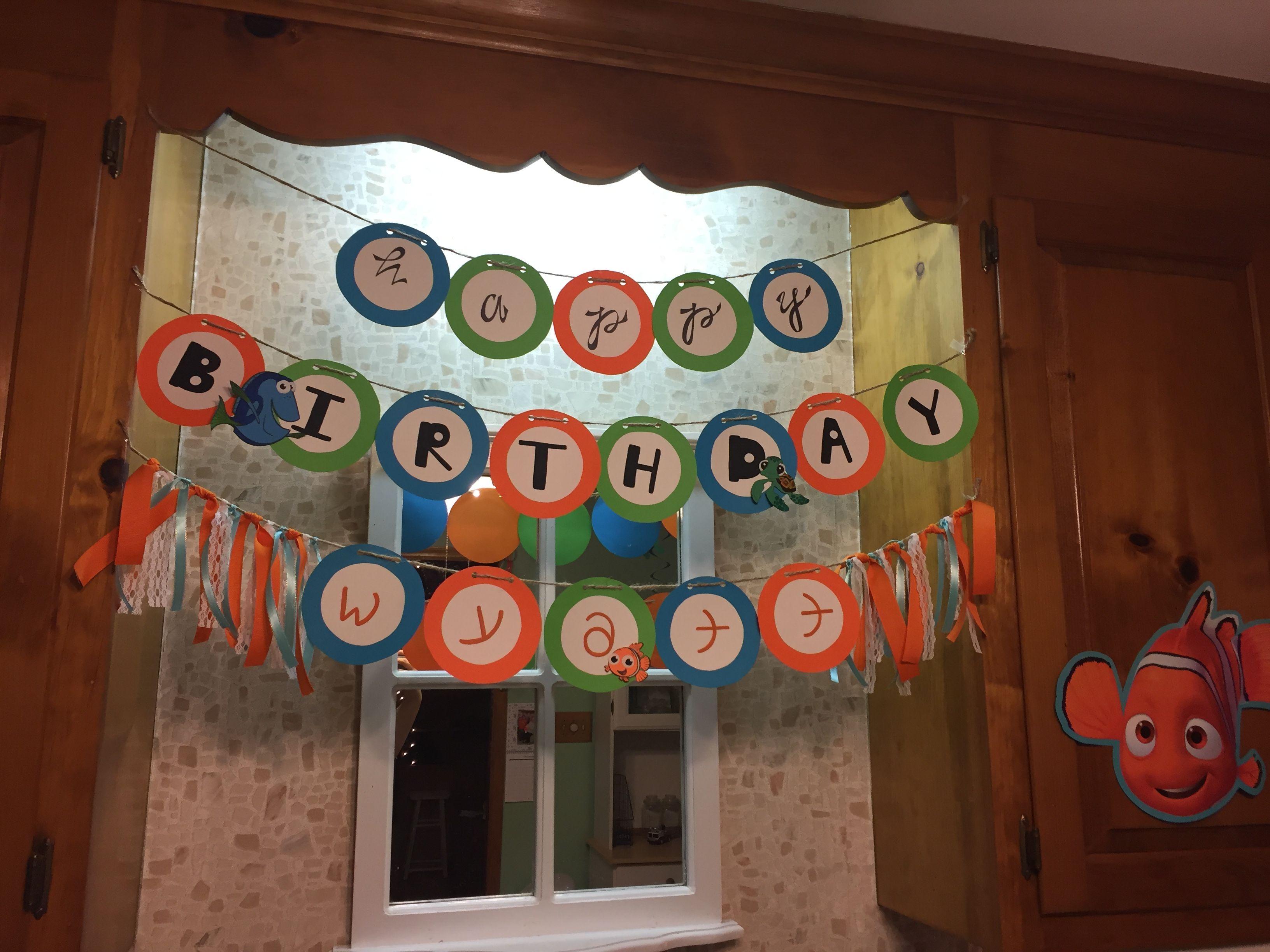 Diy finding nemo party happy birthday banner happy
