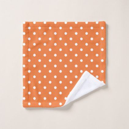 Orange And White Polka Dot Bath Towel Set Zazzle Com Orange