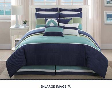 10 Piece Santorini Navy Spa Sage Comforter Set Comforter
