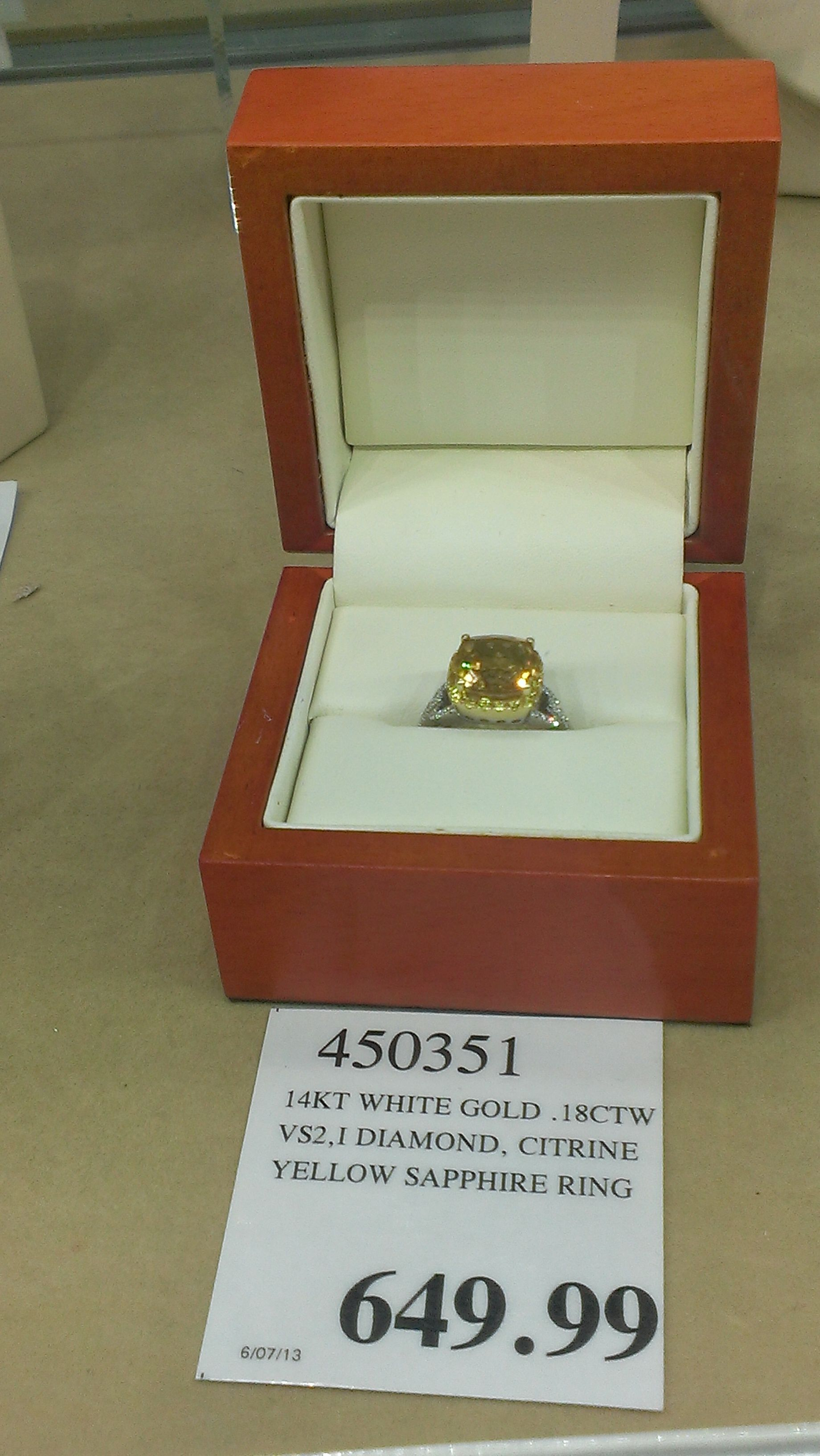 Engagement Ring With Yellow Sapphire Citrine Stone Diamond Accents Cushion Cut Costco