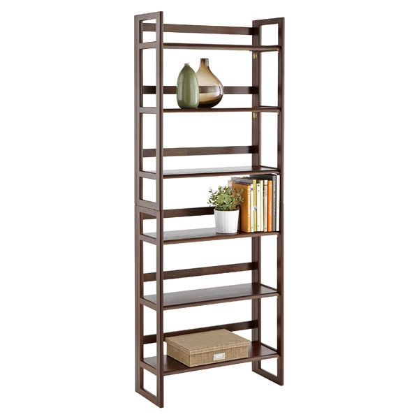 Folding Bookshelf Java Solid Wood Stackable Folding Bookshelf