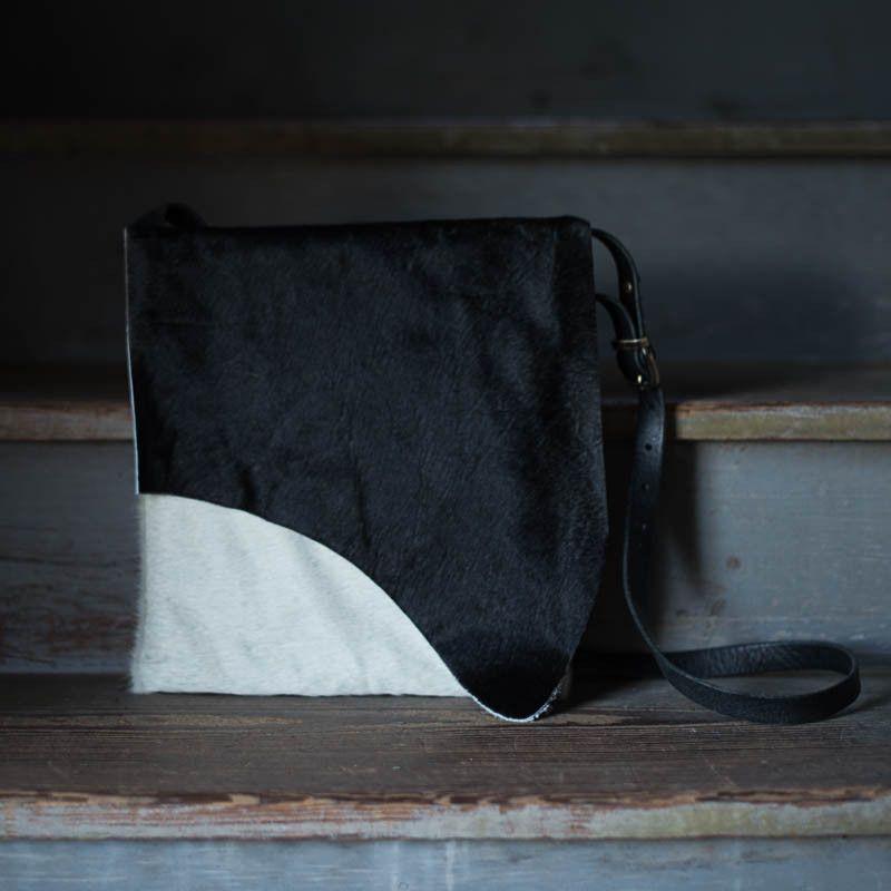 Artisan Crossbody   Black + White Cowhide