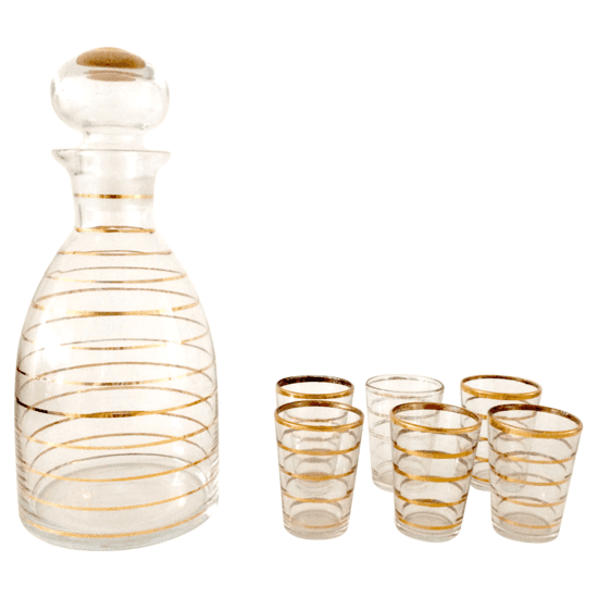 Gold Stripe Decanter and Glass Set from Expo Facto - Hunters Alley  $78