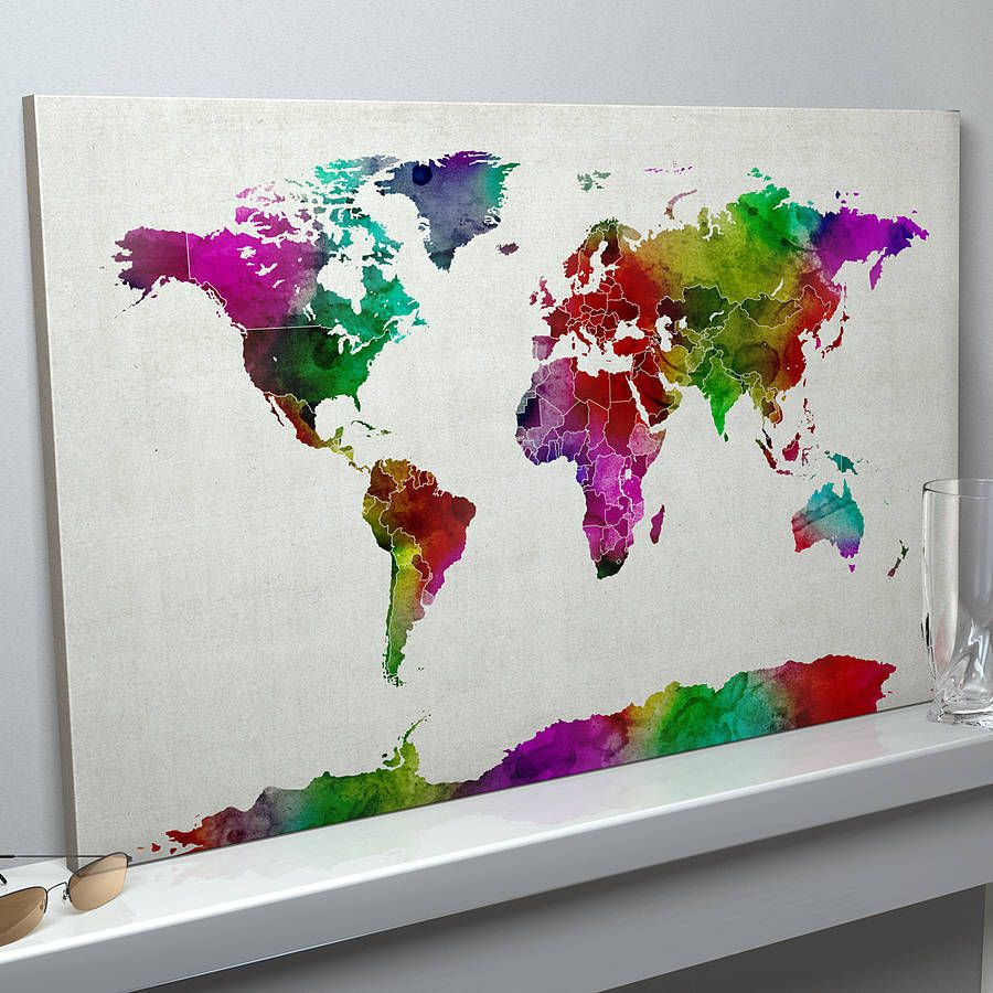 World map watercolour art print watercolor canvas watercolor and a bright and lively map of the world art print created from vibrant watercolours on a aged background 3523 gumiabroncs Image collections