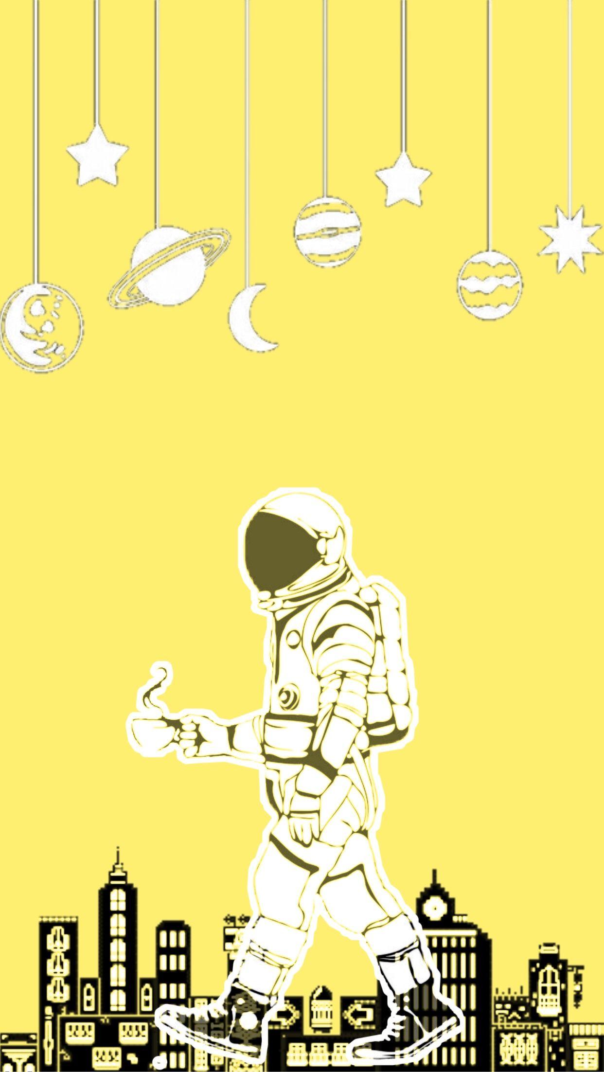 Yellow Lockscreen Wallpaper Background Astronaut Space City Aesthetic Yellow Aesthetic Pastel Astronaut Wallpaper Artsy Background