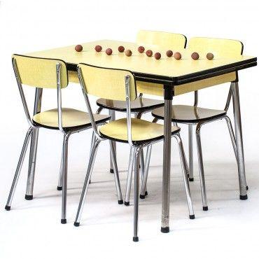 table en formica vintage ann es 60 jonquille rienacirer vintage tables vintage pinterest. Black Bedroom Furniture Sets. Home Design Ideas