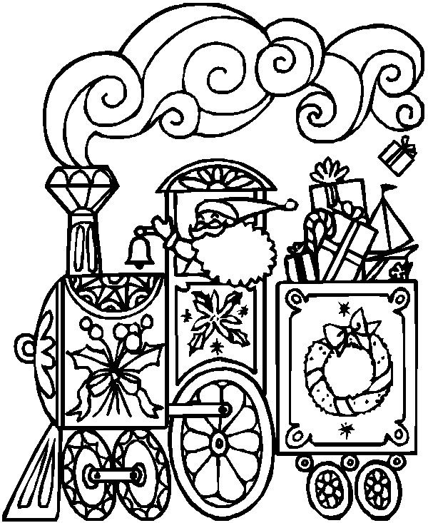 Santa's Train Train coloring pages, Coloring pages