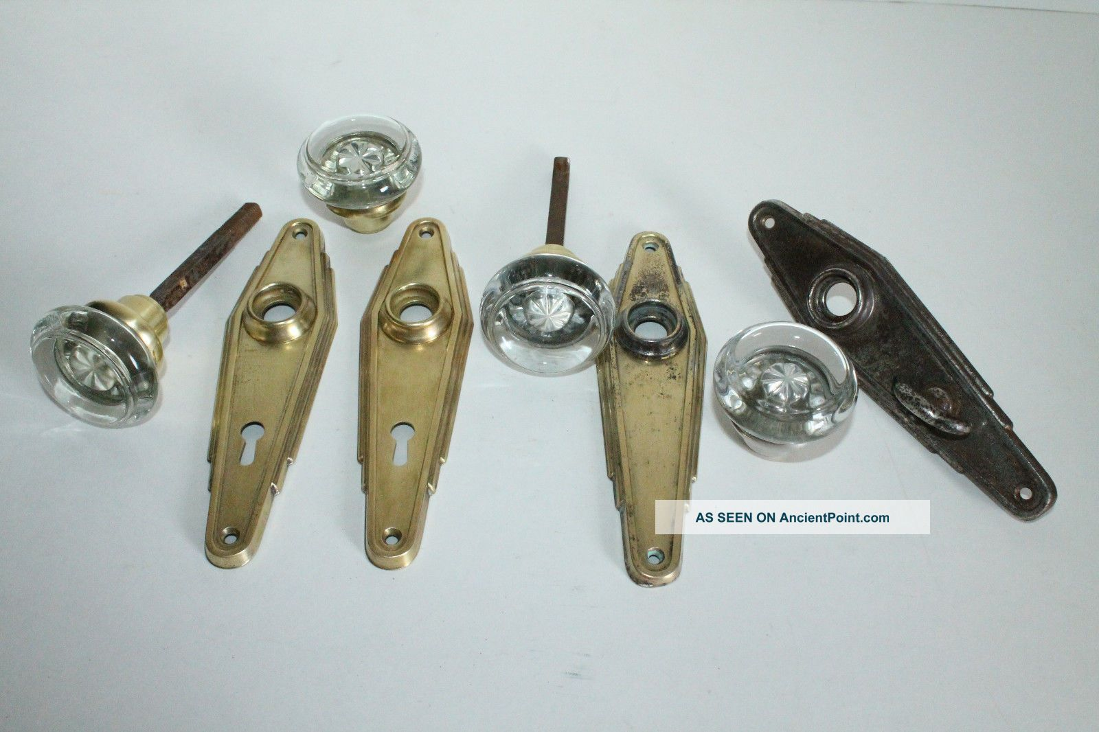 sets of matching gorgous vintage glass door knobs with art deco