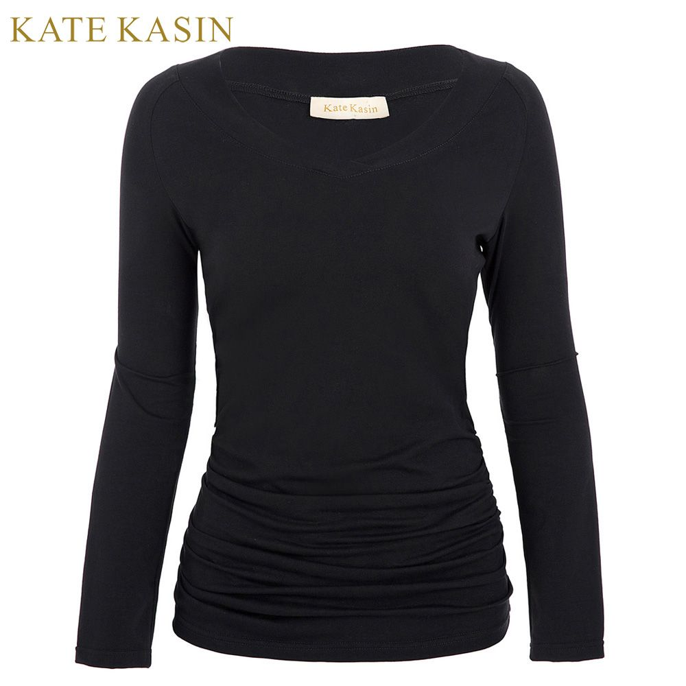 new spring t shirts women long sleeve black cotton tee shirt