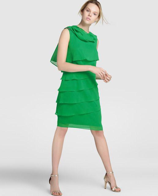 ba64d3e3a1d Vestido y chal de mujer Fiesta El Corte Inglés en color verde ...