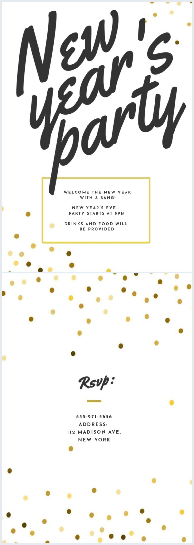 Modern New Year's Eve Party Invite Template (With images