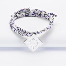 Bracelet 3 tours Liberty personnalisé médaille gravée argent dormeuse losange 25x25mm - dessin