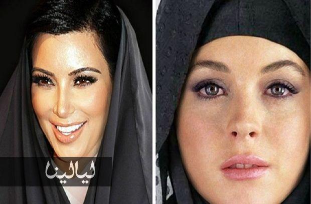 صور نجمات هوليوود بالحجاب والعباءة الخليجية على يد فنان كويتي