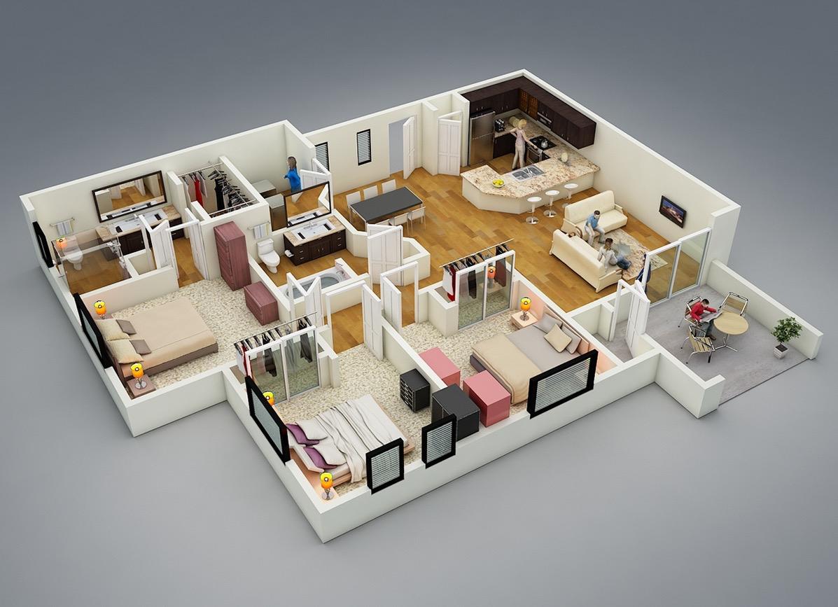 25 More 3 Bedroom 3d Floor Plans 3d House Plans Simple House Plans Home Design Plans