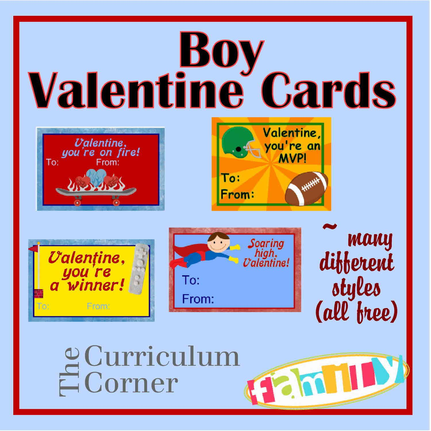 free printable boy valentine cards from the curriculum corner family these freebies include sports - Free Printable Valentine Cards For Kids