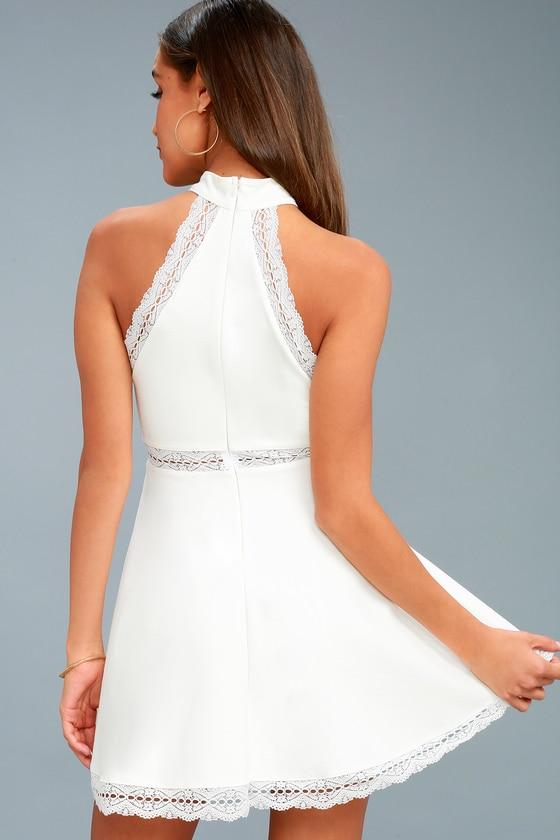 92e9bf080c6 White Dress - Lace Dress - Skater Dress - Halter Dress - LWD