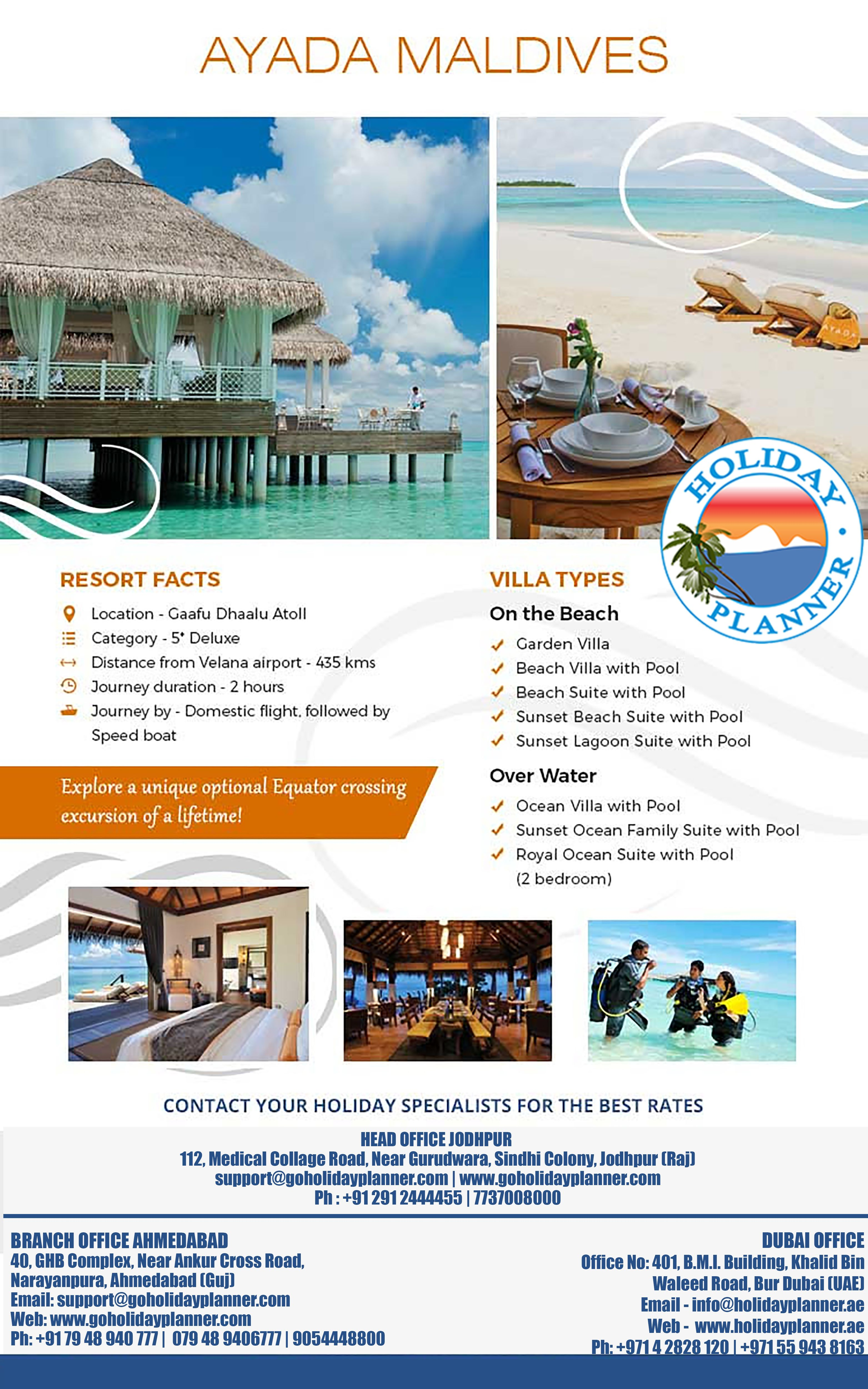 Ayada_Maldives Holiday Planner India JodhpurOffice