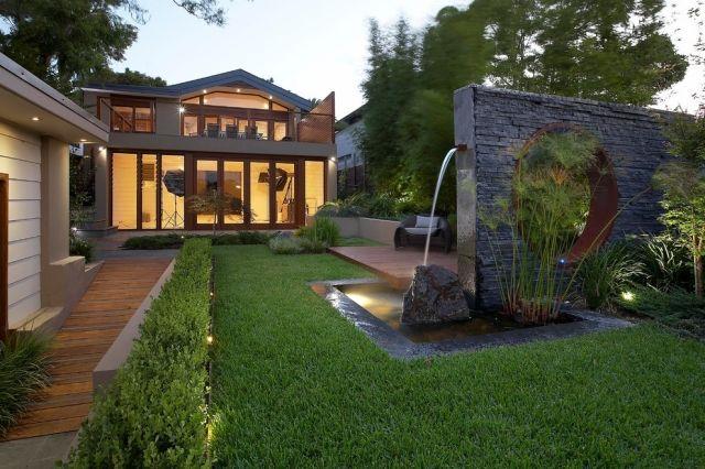 Wasserbrunnen Garten-design ideen-naturstein minimalistisches haus