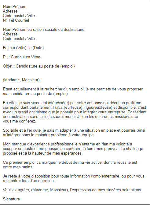 Quatre Lettres De Motivation Qui Te Demarqueront Des Autres Candidats Motivation Letter For Job Job Search Word Doc