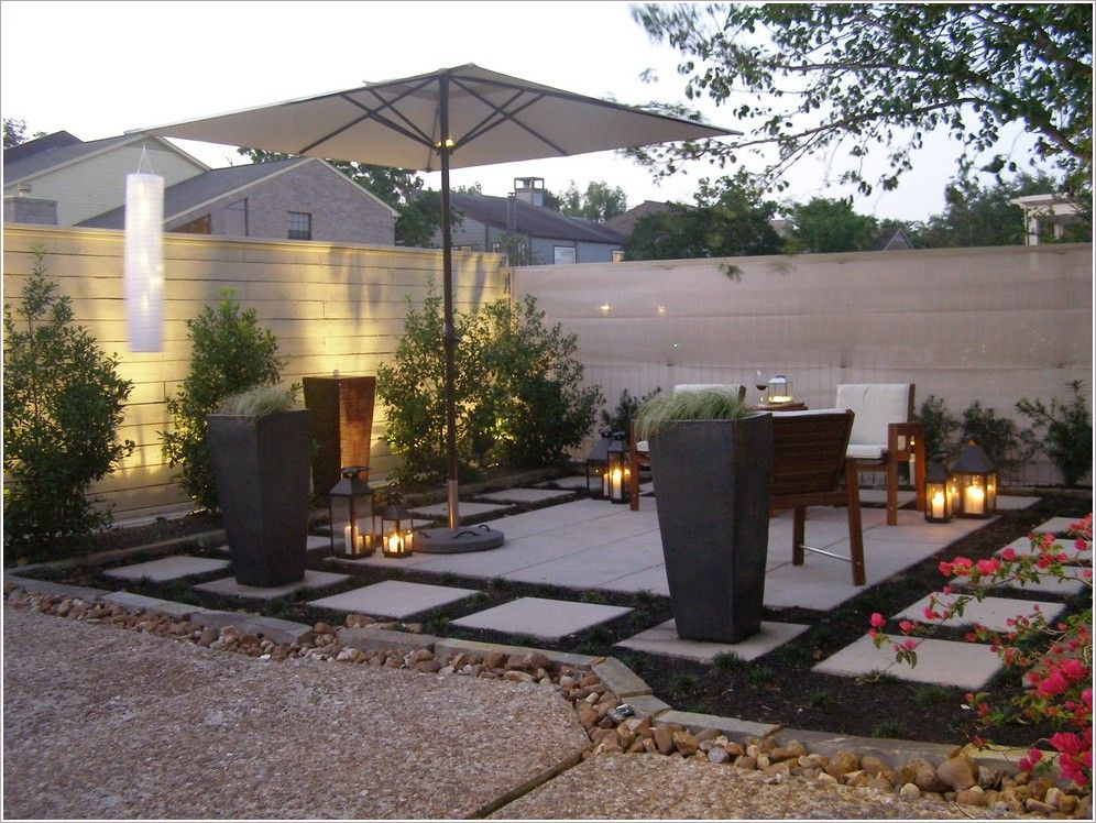 Patio Contemporary Houston Border Plantings Candle Holders Candles Concrete  Paving Container Plant Geometric Geometry Lantern Outdoor
