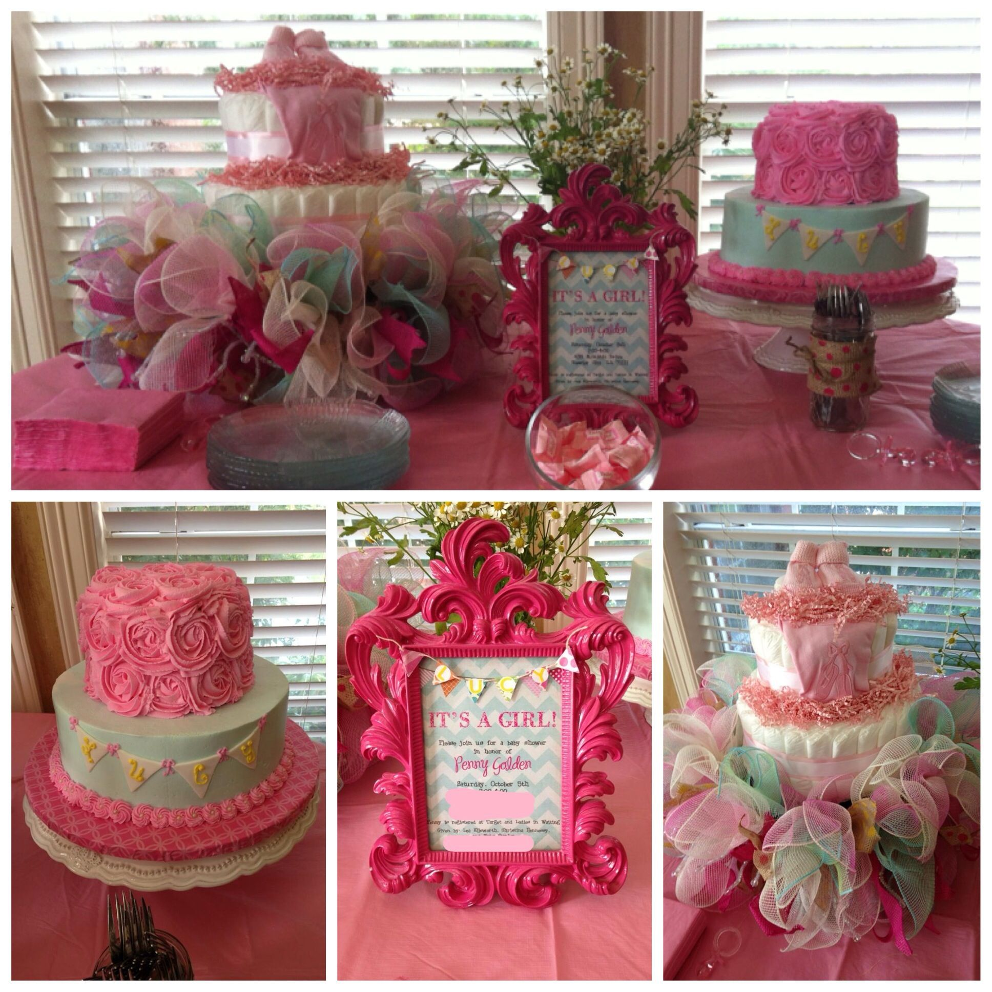 Turquoise and pink shabby chic baby shower