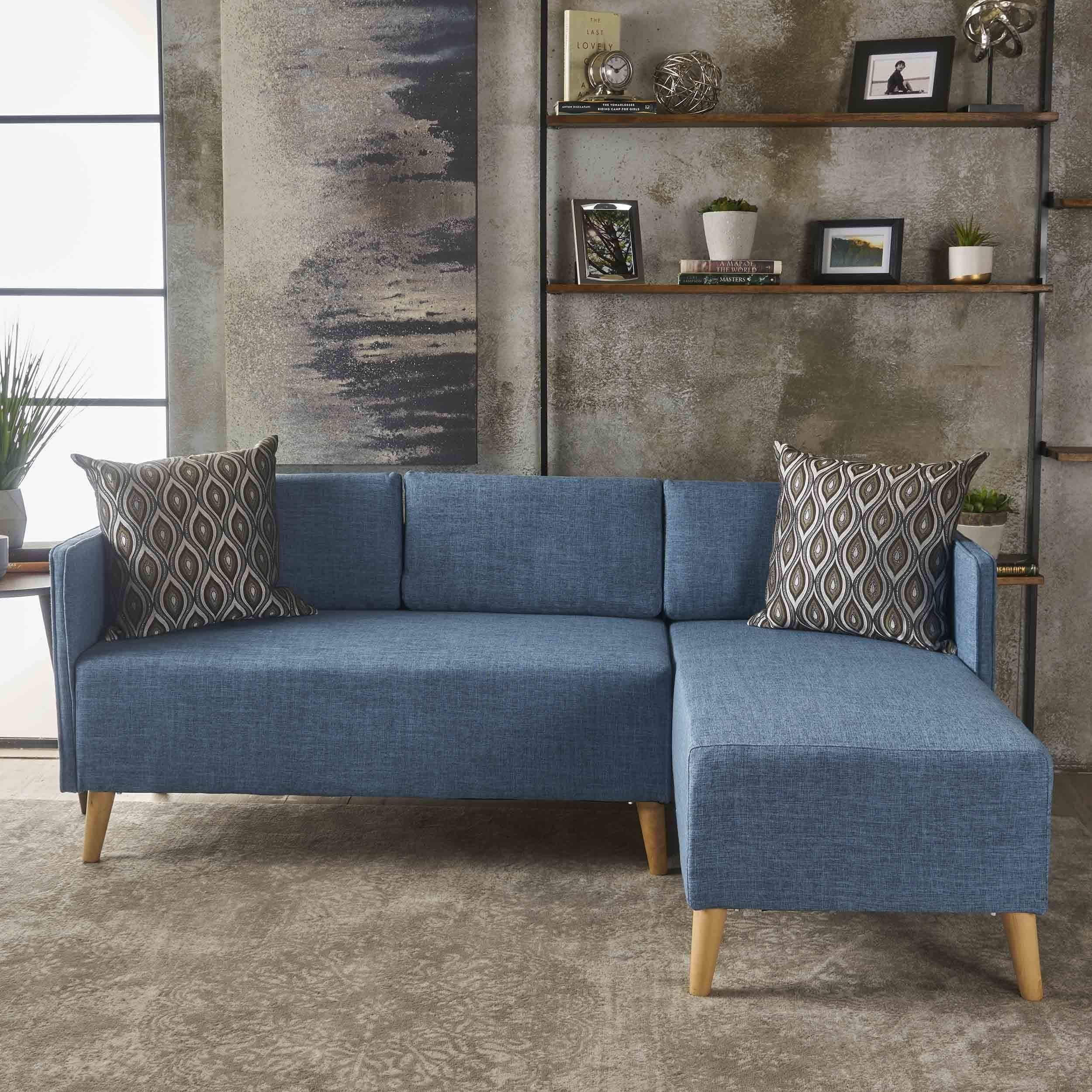 Augustus Mid Century Modern 2 piece Fabric Chaise Sectional Sofa