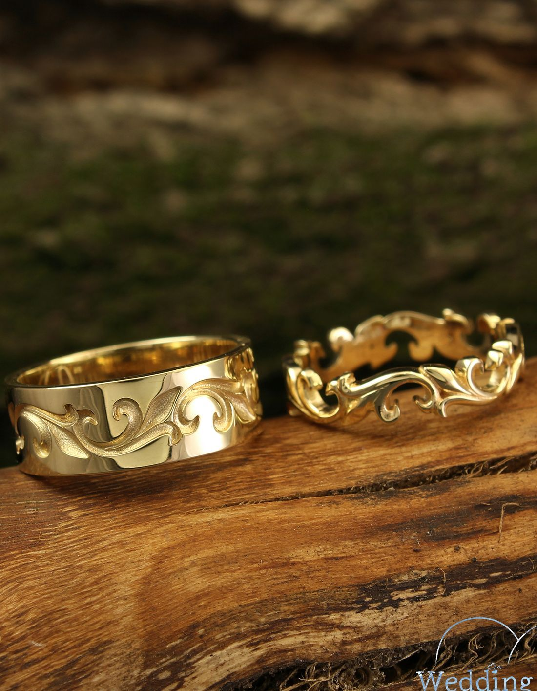Unique Matching Wedding Bands Set Vine Wedding Rings His And Etsy In 2021 Wedding Ring Sets Unique Wedding Band Sets Wedding Rings Sets His And Hers