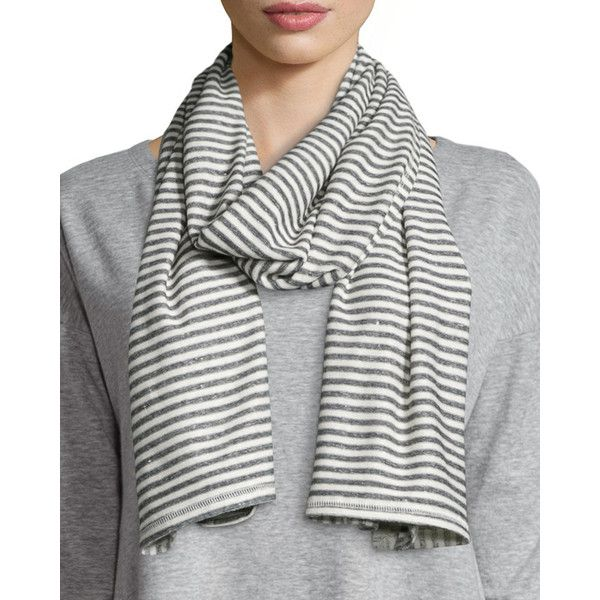 Eileen Fisher Mini Striped Organic Linen/Cotton Scarf ($68) ❤ liked on Polyvore featuring accessories, scarves, moon, eileen fisher, woven scarves, striped scarves, linen scarves and cotton shawl