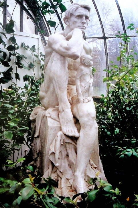 """my fav marble statue   King Robert of Sicily    George Henry Paulin (1888-1962)    Purchased: 1927    Marble    Statue: 1.54 m, high; base 58 cm. high    Kibble Palace, Glasgow Botanic Gardens    Glasgow, Scotland    The subject is taken from """"The Sicilian Tale"""" in Tales of a Wayside Inn by H.W. Longfellow, and refers to an arrogant king who is deposed by an """"angelic"""" emissary and is forced to assume the of king's jester. — Glasgow Sculpture"""