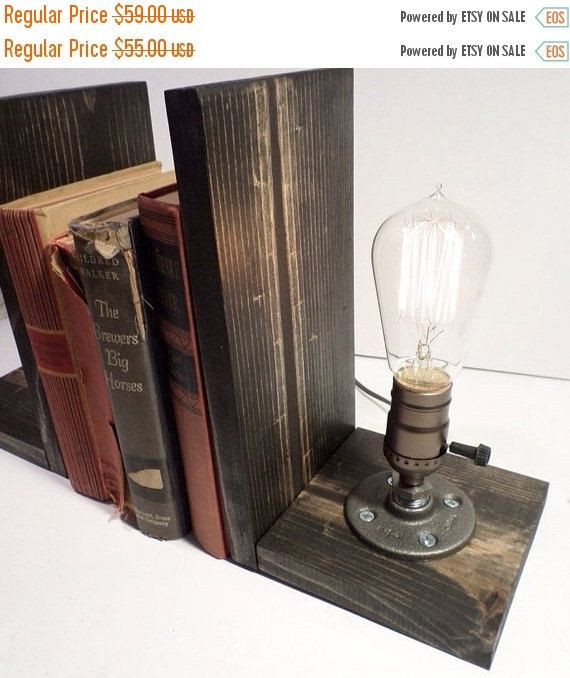 Edison Lamp Rustic Decor Unique Table Lamp Industrial: ON SALE Edison Book End Lamp In Weathered