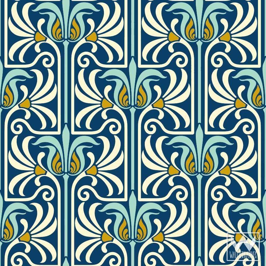 Art Nouveau Feather Damask Removable Wallpaper The Place