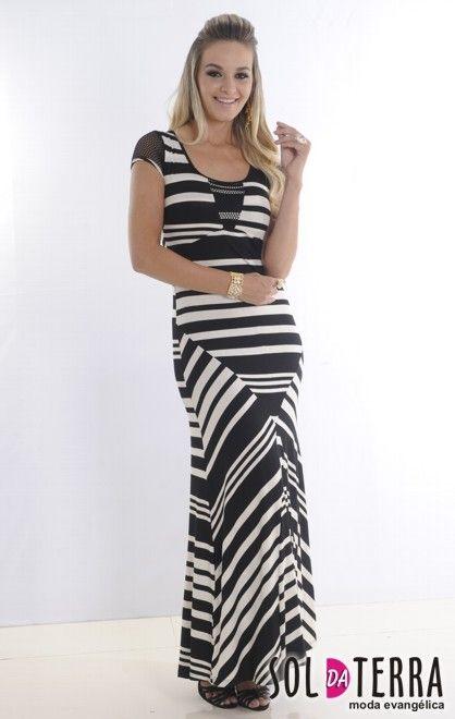 e2d767d7a VESTIDO LONGO MALHA LISTRADO -   Orbe   Fashion, Dresses e Skirts