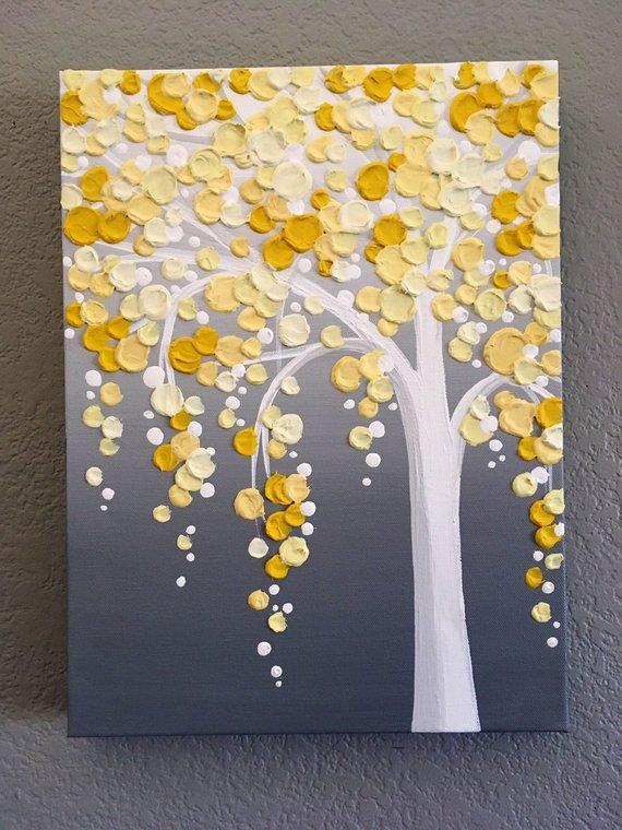 Arbre texturé jaune et gris, peinture acrylique originale sur toile, sélectionnez votre taille #backrounds