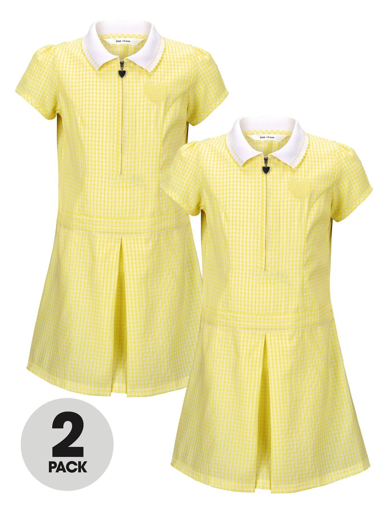 Yellow and white school summer dress