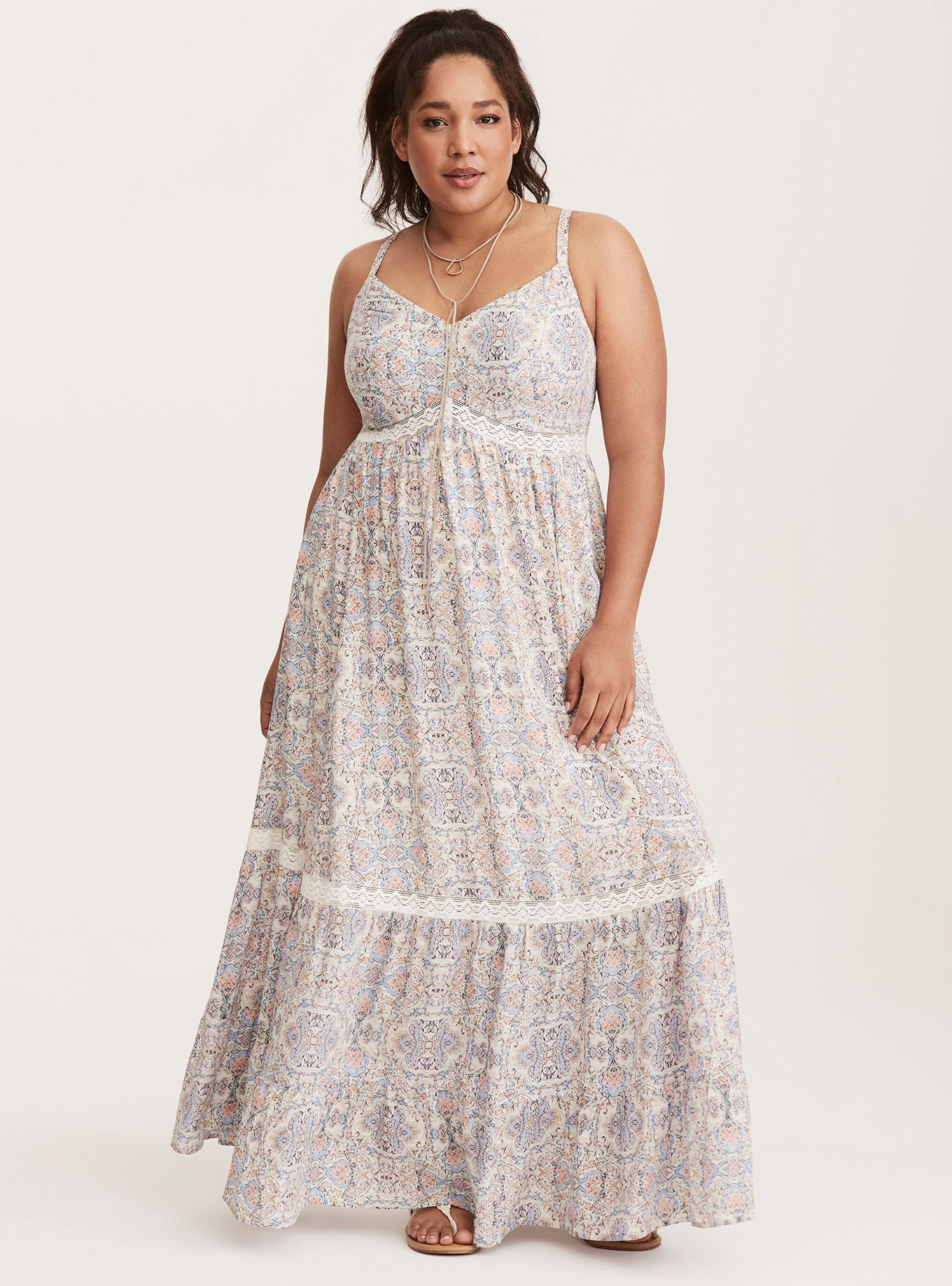 Tile Print Lace Inset Tiered Challis Maxi Dress In 2020 Dresses Plus Size Maxi Dresses Maxi Dress [ 1836 x 1360 Pixel ]