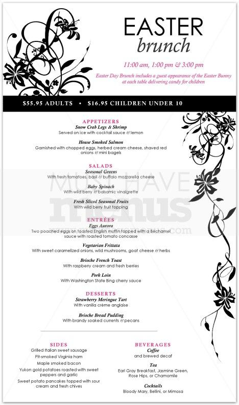 Easter Sunday Lunch Menu