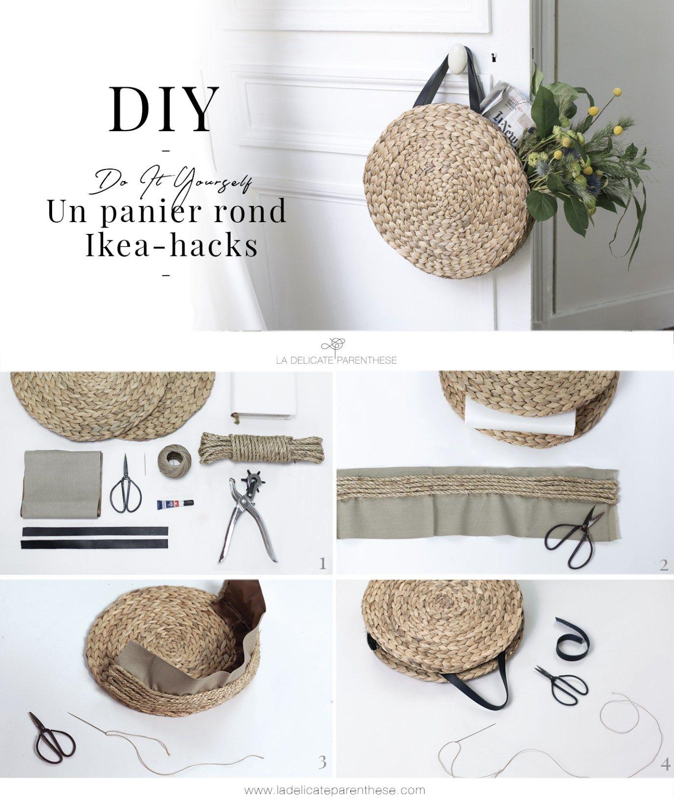 diy un panier rond en paille gr ce au ikea hack. Black Bedroom Furniture Sets. Home Design Ideas
