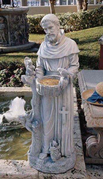 St. Francis With Animals Bird Feeder Statue   Stone