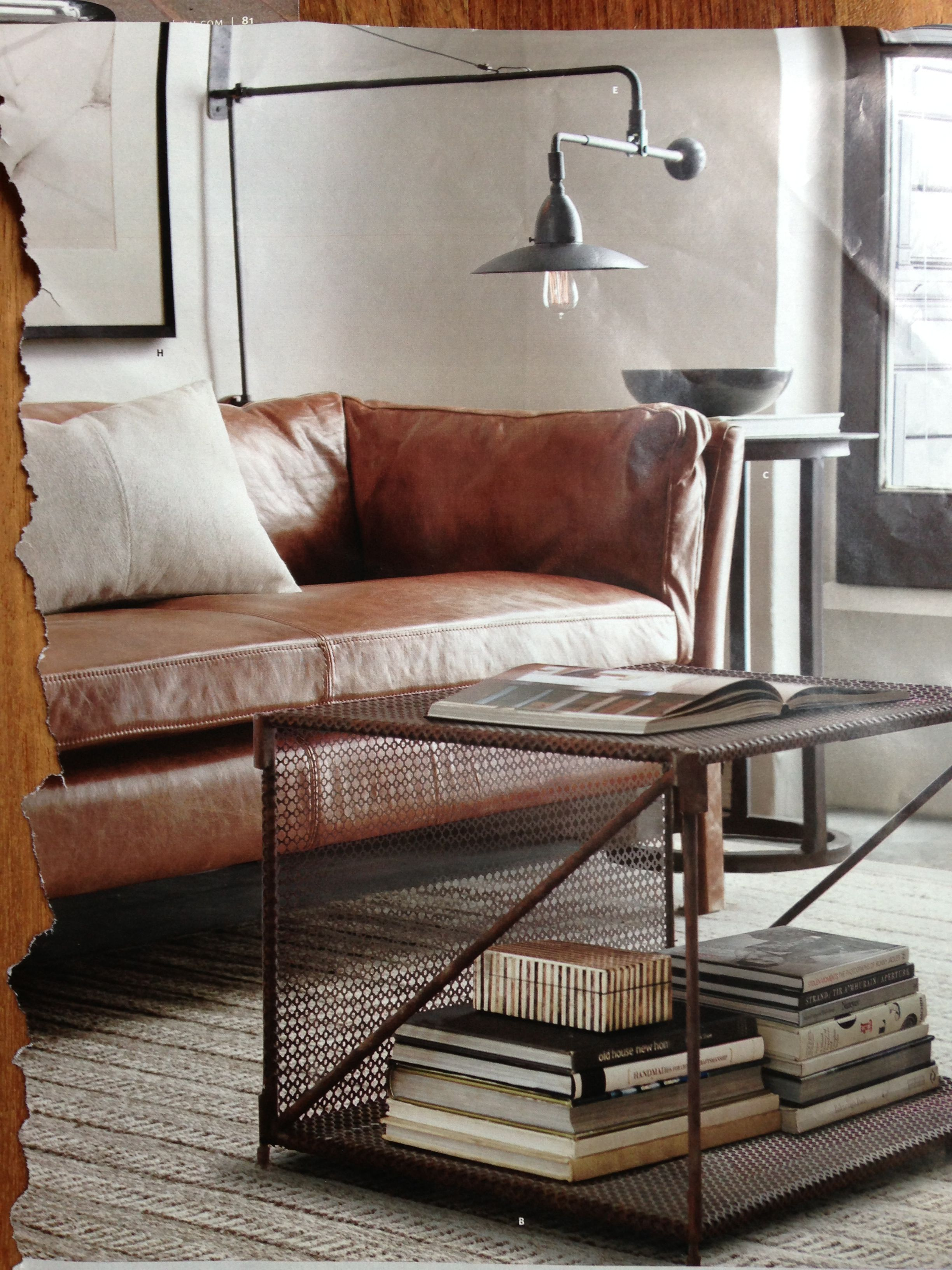 Leather couch. Restoration hardware