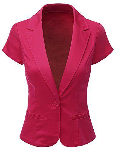 Doublju Women Comfortable Spandex Peacked Collar Skinny Fit Blazer ...