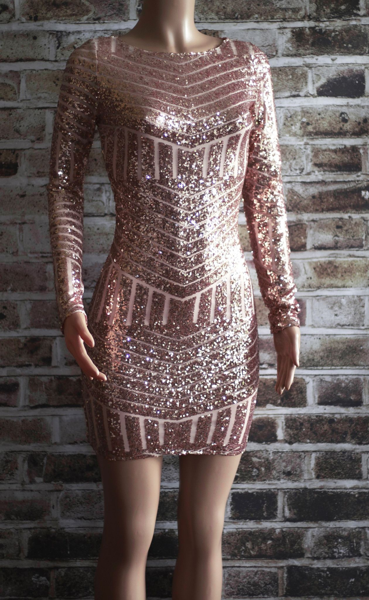 rose gold sequin dress hair&clothes
