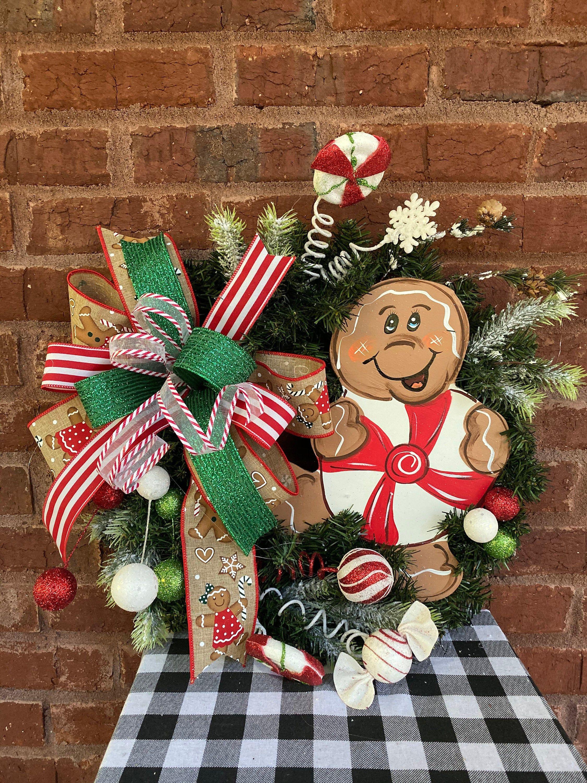Gingerbread Double Door Christmas Wreath, Gingerbread Set Door Wreaths, Gingerbread Front Door, Gingerbread Collector, Christmas Double Door #doubledoorwreaths