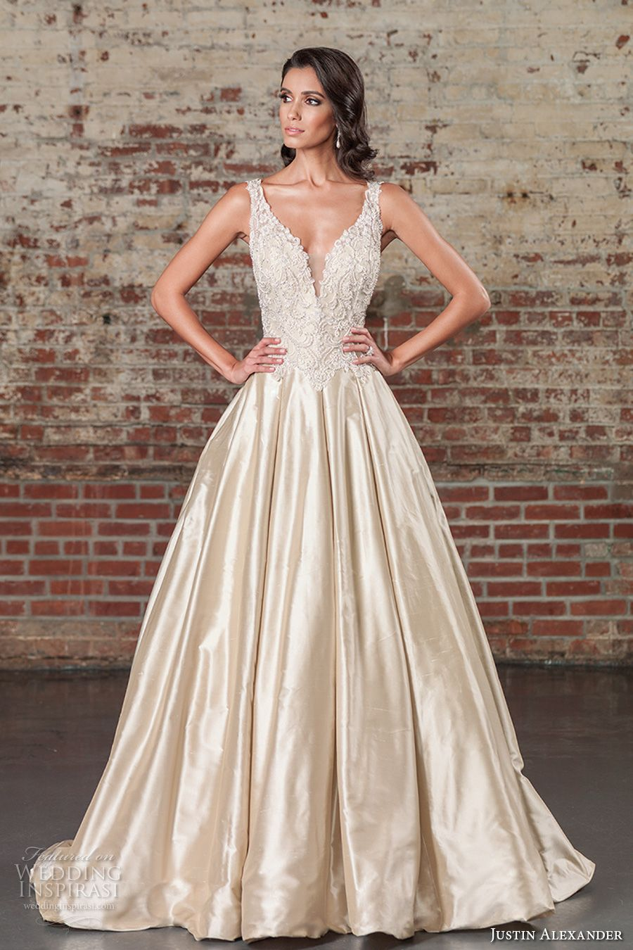 Justin Alexander Spring 2017 Bridal Sleeveless Thick Strap Deep Plunging V Neck Heavily Embellished Bodice Satin Skirt Champagne Color Elegant A Line