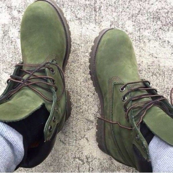 Shoes: timberlands boots olive green timberlands boots timberland... ❤  liked on Polyvore