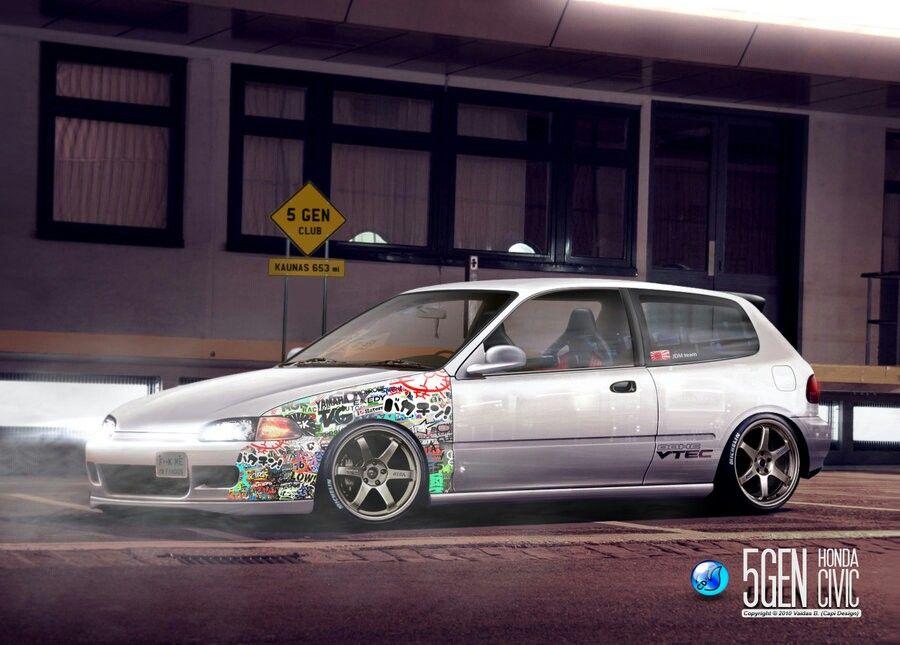 Sticker Bomb And Te S Honda Civic Hatchback Honda Civic Honda