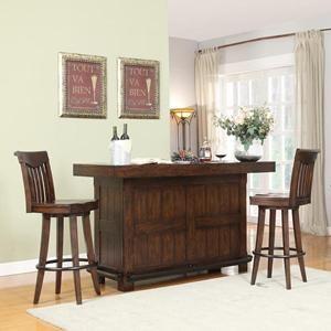 Furniture Gettysburg Bar and 2 Stools in Distressed Chestnut Oak