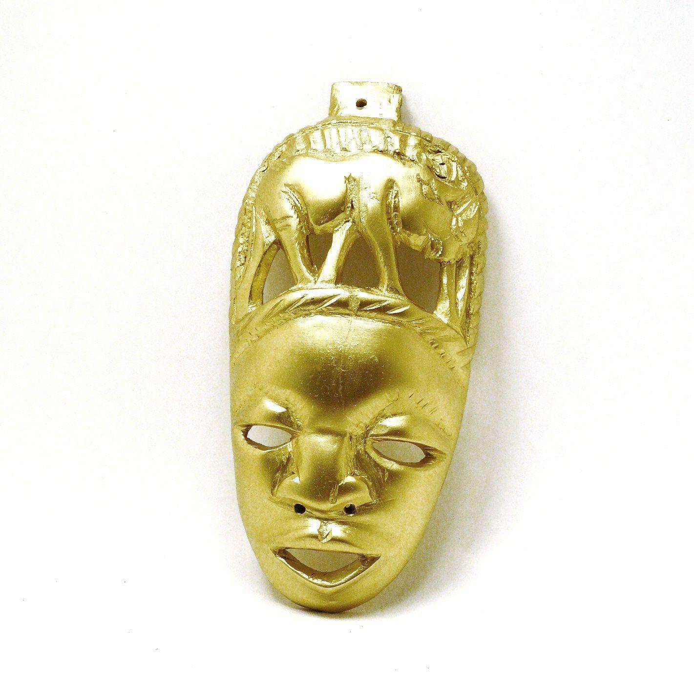 Tribal mask, african wall art, gold home decor, metallic home ...